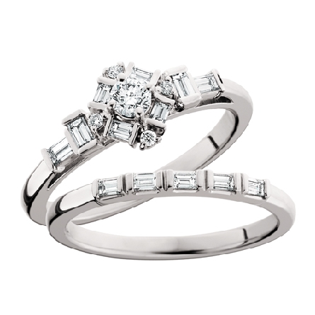 14 karat white gold straight row wedding set; engagement ring has center round diamond surrounded by a halo of baguette and round; baguettes on shank; narrow matching band with end-to-end baguettes; all diamond = .62cttw; G-H/SI