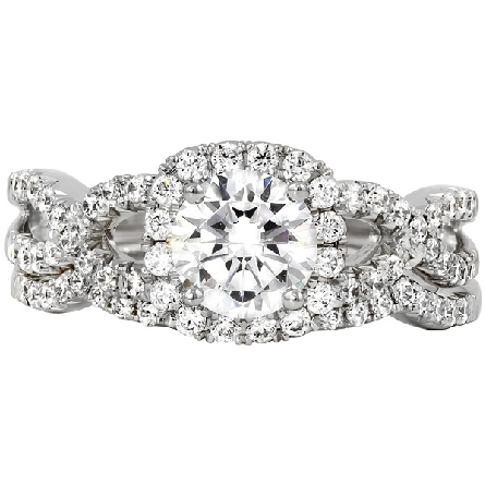14 karat white gold engagement ring; bead-set cushion-shaped halo; open twisted shanks; and lower prongs; trim diamonds  =.45cttw G-H/SI; center 1.10 H/SI2 AGS report; optional band available separately
