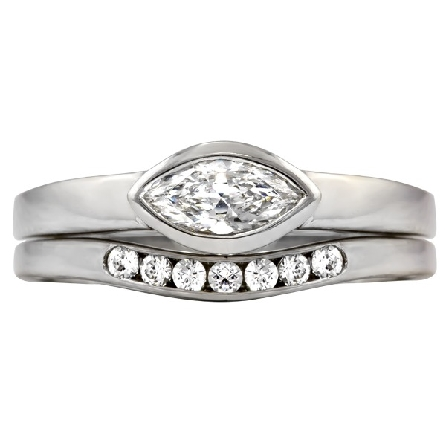 14 karat white gold solitaire engagement ring; .36ct H/SI1 marquise diamond bezel-set east-west in straight row band; light filigree underbezel; optional contour band available