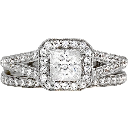 14 karat white gold engagement ring; center princess-cut diamond .95ct H/SI1 surrounded by octagonal shaped halo; raised shoulder split shanks set with diamonds; trim=3/8cttw G-H/SI; optional band available separately