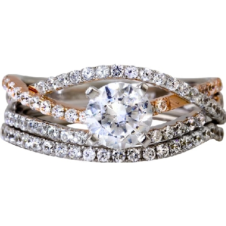 14 karat two-tone diamond engagement ring; center .70 cushion-cut H/SI1 (AStar report); appearance of three curved bands; two white and one rose gold; all set with diamonds; trim=1/3cttw H/SI1; optional contour band available
