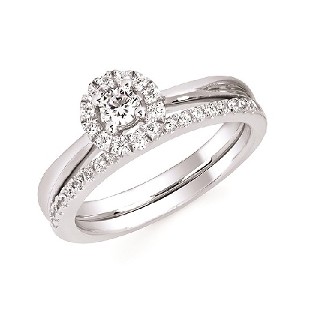 10 karat white gold diamond engagement ring; center weighs .16 carat; with halo .26cttw GH/I1; straight polished cathedral shank. Shown with optional diamond band.