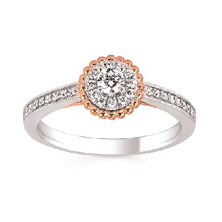 10 karat gold engagement ring; center .14 carat diamond with diamond halo and shared prong set diamonds down straight milgrained shanks in white gold; yellow gold rope trim around halo and under the center; with diamond trim; .334cttw I/I1