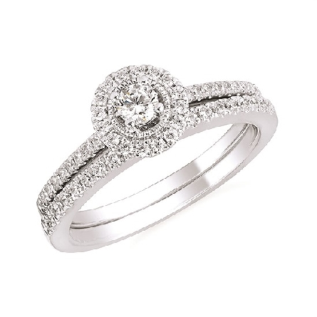 10 karat white gold diamond engagement ring; center .14 carat surrounded by halo; diamonds on straight shanks; .32cttw I/I1. Shown with optional wedding band.