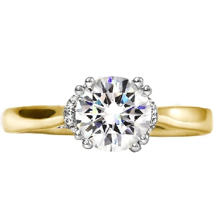 14 karat yellow gold diamond engagement ring; .71 carat G/SI1 cushion-shape center in 4-prong head; diamond-set shoulder forms crossover in side view; trim is 1/6cttw; G/I1. Center is laser engraved VSJ 101402 Diamond of Antwerp. AStar report.