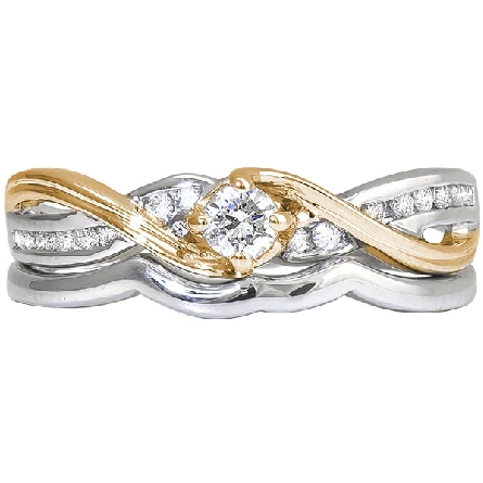 14 karat two tone engagement ring and wedding band set; engagement ring has a four prong center set with a .14 carat H/I1 round diamond; channel-set diamonds (1/10cttw GH/I1) in white gold twist with a polished rose gold ribbon; fitted rose gold narr