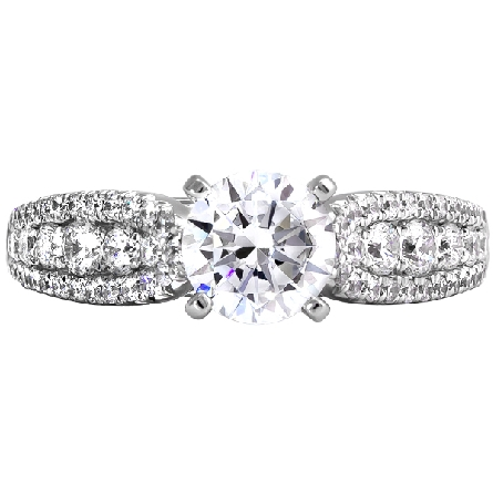14 karat white gold engagement ring with a .70 carat oval cut center; H/SI2/GIA 6245751820; pinch top cathedral shanks with graduated diamonds down the center; edges lined with smaller diamonds; 5/8cttw GH/I1