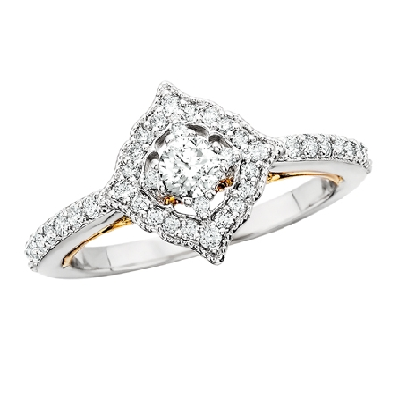 14k white gold diamond ring features a yellow gold trellis accented with milgrain detail; straight shank with shared prong settings and scalloped halo = .35cttw; center weighs .20 carat