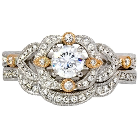14 karat two-tone gold; mostly white; scalloped halo with rose gold accents; side shanks also have rose gold trims. Center diamond .52 carat G/SI1; bead-set trim 3/16cttw GH/I1. Optional band pictured is available separately.