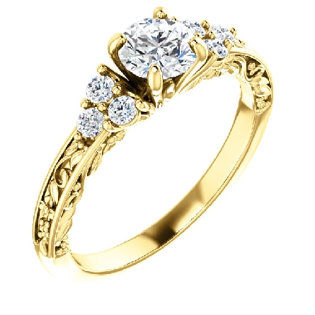 14 karat yellow gold diamond engagement ring with vintage embossing on lower side shanks and shank edges. Center weighs .46 carat; I/SI1 The 6 side diamonds; arranged in a triangle on each side; have a total weight of .18 carat; GH/SI1. Matching cont