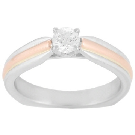 14 karat two-tone diamond solitaire ring; white gold base ring with raised rose gold trim down the straight shanks; four-prong center setting holds a .37 carat G/SI1 round diamond