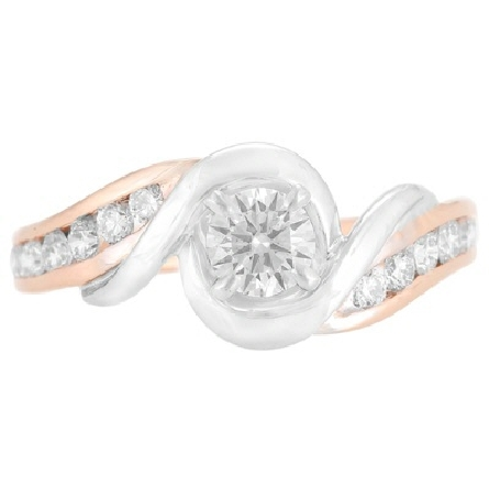 14 karat two tone diamond ring; white gold base ring with curved bypass top trimmed in rose gold; graduated sizes channel-set full-cut rounds down each side (G/VS 12=.39cttw); center four-prong setting holds a round brilliant-cut .37 carat G/SI1. Tot