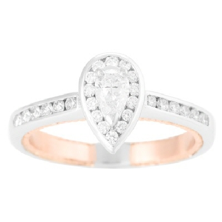 14 karat two-tone engagement ring; pear-shaped center diamond with diamonds in halo and on straight shanks; all white gold except rose gold milgrain edged insert; center .40 carat D/VS1; trim .35cttw G/VS; total weight for the ring is .75 carat