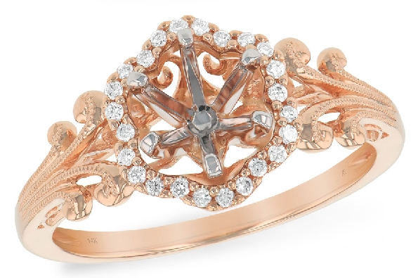 14 karat rose gold semi-mount ring; curving hexagonal diamond halo (.09cttw) around a 6mm soft-set cubic zirconia; milgrain vintage design shanks; side view filigree; Allison-Kaufman L7626
