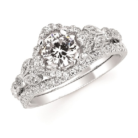 14 karat white gold semi-mount diamond ring with 6mm soft-set cubic zirconia in the center 4-prong setting; scalloped halo; marquise shapes on shank; surprise diamond under center.; .30cttw. Shown with optional band.