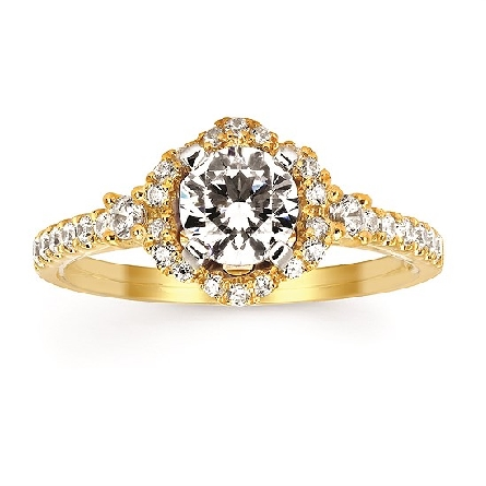 14 karat yellow gold diamond semi-mount engagement ring with 6mm soft-set cubic zironia center; scalloped halo; row of shared prong-set down shanks with larger one next to halo; .34cttw HI/SI