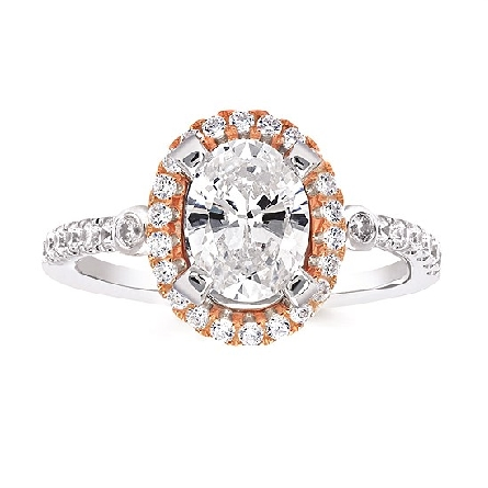 14 karat two tone diamond semi-mount engagement ring with soft-set 8x6mm cubic zirconia center; white gold with rose gold halo; shared-prong-set diamonds down shanks with a bezel-set on each side next to halo; filigree underbezel; .43cttw HI/SI