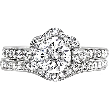 14 karat white gold engagement ring semi-mount with one carat pegged head soft set with a cubic zirconia; curvy hexagon-shaped halo; pinch-top diamond-set shanks with milgrain edges; scalloped underbridging with a bezel-set diamond on each side. Show