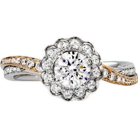 14 karat two-tone gold semi-mount engagement ring; 5.5mm cast head (2/3 carat diamond size) soft-set with a cubic zirconia; scalloped halo; twist shanks with one part white gold and the other rose gold; both diamond-set. Rise gold scalloped underbrid