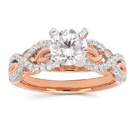 14 karat two-tone engagement ring mounting soft set with a one carat sized CZ in a four prong white gold head. white gold diamond set ribbons form twists that overlay polished rose gold twists; .21cttw SI clarity