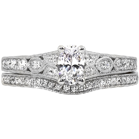 14 karat white gold semi-mount ring; soft-set with a 6x4 CZ; vintage look with milgrained diamond-set panels on side shanks and edges. Shown with optional wedding ring.