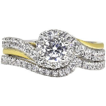 14 karat two-tone gold semi-mount ring for a one-half carat center (with a cubic zirconia palceholder); bypass wrap-around white gold shank is set with diamonds (3/8cttw GH/I1); underlaid with a yellow gold ribbon on opposite edges. Pictured with opt