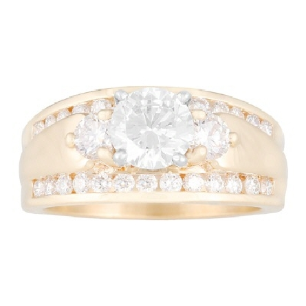 14 karat yellow gold semi-mount ring; 9+mm wide tapered band with diamonds lining both edges (26=.52cttw G/SI); three-stone center in white gold has a 6mm soft-set cubic zirconia center flanked by 2=.38cttw (G/VS) round diamonds
