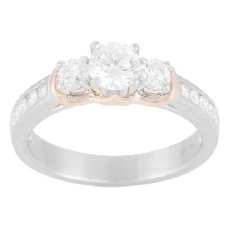 14 karat two tone semi mount ring; white gold shanks are channel-set with six diamonds on each side (.41cttw); and the three center white gold heads are set with 2=.31cttw framing a 6mm soft-set cubic zirconia center. A rose gold scalloped wrap fits