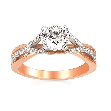 14 karat two-tone engagement ring semi-mount; four prong center holds a 6.5mm (1 carat) round; base split shank is rose gold with a pinch top; overlaid with a white gold diamond-set shank with the opposite profile; .16cttw GH/SI