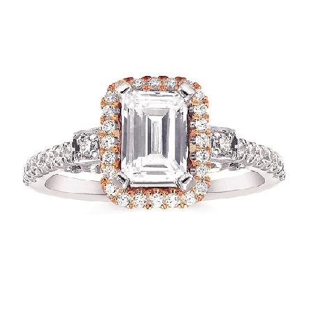 14 karat two-tone engagement ring semi-mount; four-prong center holds a 6x4mm (half-carat diamond size) emerald-cut surrounded by a rose gold halo with filigree underbridging; white gold diamond-set straight shanks; .29cttw GH/SI