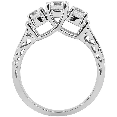 14 karat white gold three-stone semi-mount ring; center is a soft-set 5mm cubic zirconia; side diamonds have a total weight of .54 carat; and are GH/SI1; raised center section with curving prongs and filigree in side view