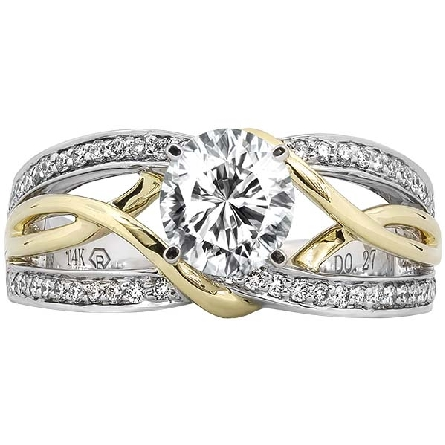 14 karat two tone gold semi-mount ring; white gold split shank base edged with diamonds; yellow gold open twist overlay down the center; six-prong center head soft-set with a 6mm (.80ct. diamond size) cubic zirconia. 1/4cttw GH/I1 diamond