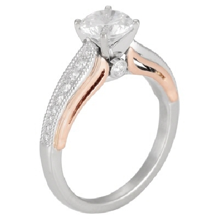 14 karat two tone semi mount; white gold base ring; four prong center is soft-set with a one-carat size cubic zirconia; side shanks hold graduated sizes of diamonds with milgrain trim; bezel-set diamond on each side under the center with rose gold tr