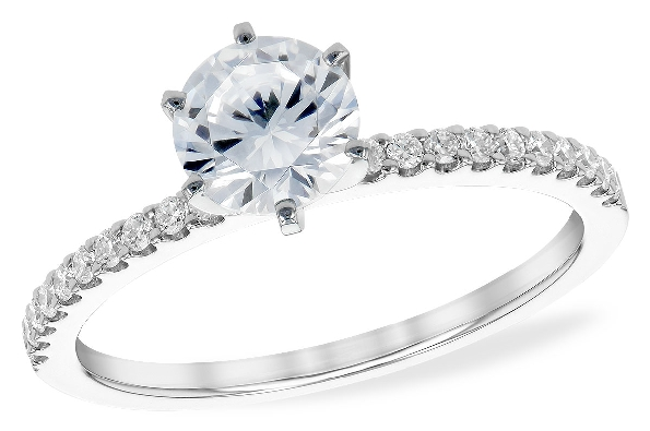 14 karat white gold semi-mount engagement ring; center 6-prong setting is soft-set with a 6mm cubic zirconia (the size of an .80ct. diamond); with diamonds set down each side shank; .16cttw G/SI1