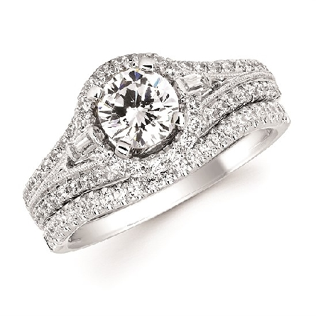 14 karat white gold contour diamond band that fits with engagement ring 12-00037 (also shown); .16cttw
