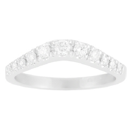 14 karat white gold contour band with 11=.34cttw prong-set diamonds graduating in size from larger at the center to smaller at the sides; G/VS