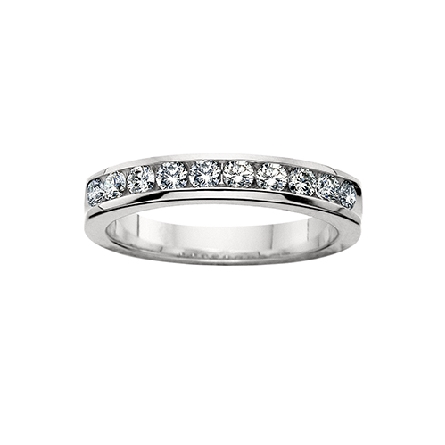 14 karat white gold channel set diamond anniversary band with 10=3/4cttw HI/SI