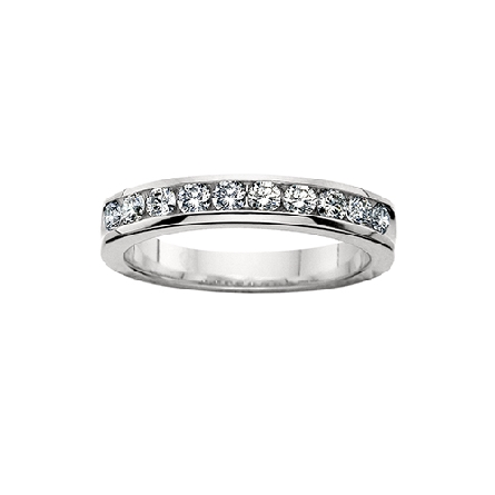 14 karat white gold channel set diamond anniversary band with 10=1/2cttw HI/SI