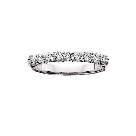 14 karat white gold shared prong diamond anniversary band with 9=1/2cttw HI/SI
