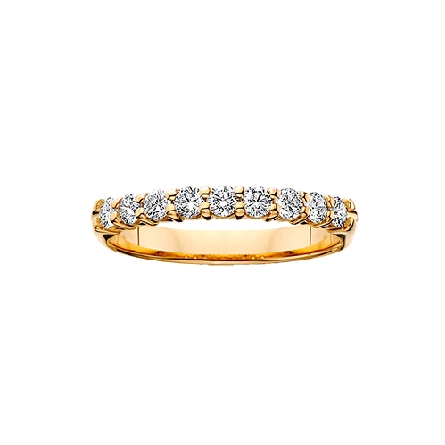 14 karat yellow gold shared prong diamond anniversary band with 9=1/2cttw HI/SI