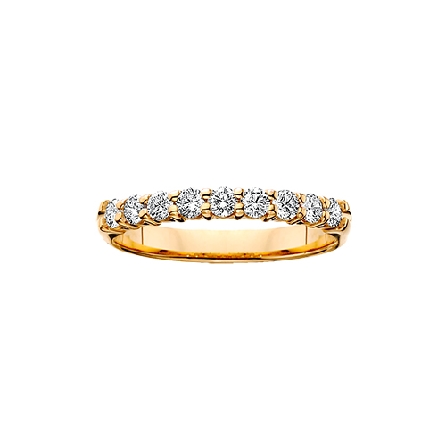 14 karat yellow gold shared prong diamond anniversary band with 9=1/4cttw HI/SI