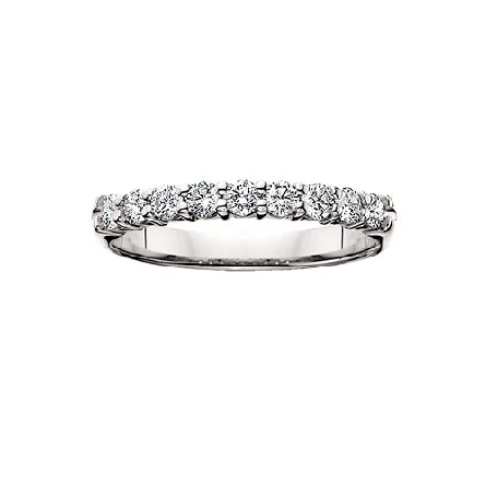 14 karat white gold shared prong diamond anniversary band with 9=3/4cttw HI/SI