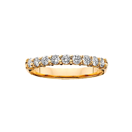 14 karat yellow gold shared prong diamond anniversary band with 9=3/4cttw HI/SI