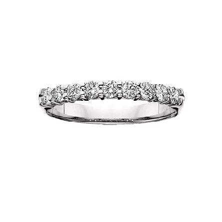14 karat white gold shared prong diamond anniversary band with 9=1cttw HI/SI