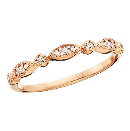 14 karat rose gold band with milgrain-edged alternating marquise and round shapes set with diamonds; .09cttw