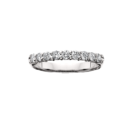 14 karat white gold shared prong diamond band; nine = 1/4 carat total weight; GH/SI