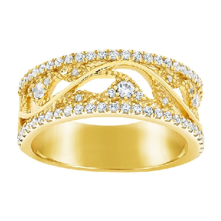14 karat yellow gold wide band style ring; open center with diamond-set vining design; diamond-set edges; .47cttw HI/I1