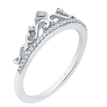 14 karat white gold stackable diamond ring with filigree on one side styled like a tiara; .11cttw