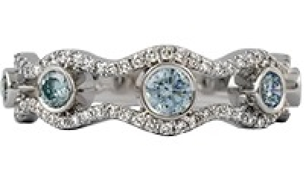14 karat white gold band style ring with five bezel-set graduated irradiated blue diamonds spaced between wavy edges set with GH/SI2-3 diamonds; 3/4cttw