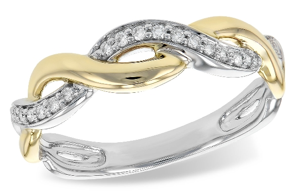 14 karat two tone diamond ring; white gold diamond band intertwines with polished yellow gold band; .10cttw